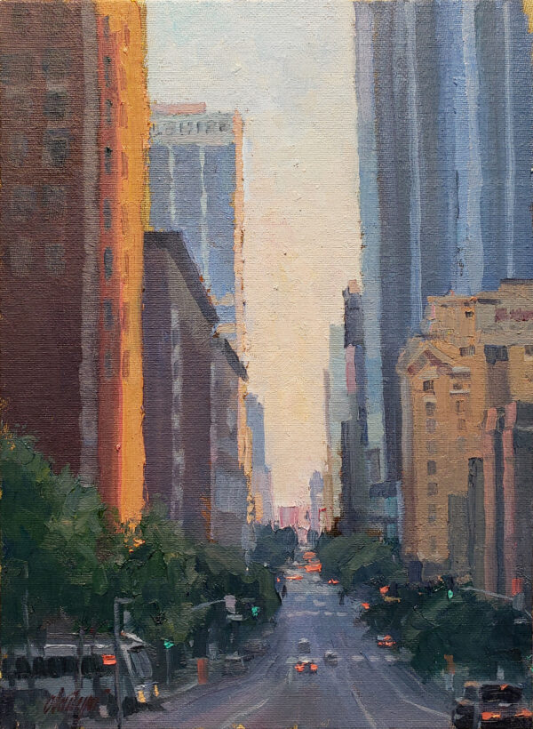 "American Legacy Fine Arts presents ""Flower Street Canyon; Los Angeles"" by Michael Obermeyer."