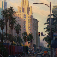 "American Legacy Fine Arts presents ""Pershing Square; Los Angeles"" a painting by Michael Obermeyer."