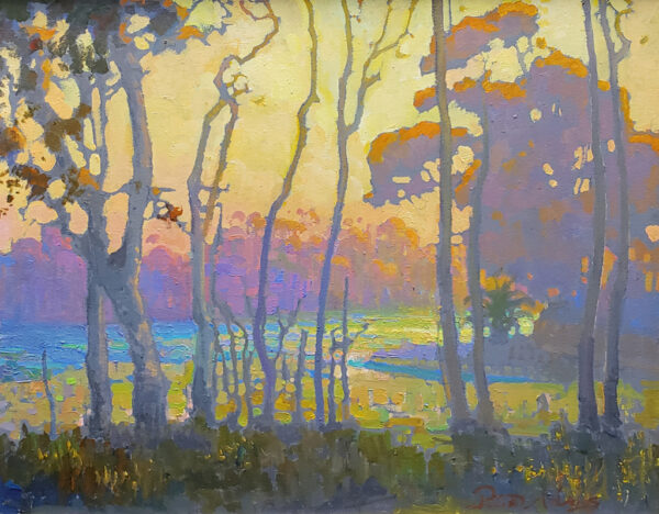 "American Legacy Fine Arts presents "" Autumn Silhouettes at Batiquitos Lagoon, Carlsbad, California"" a painting by Peter Adams"