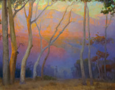 "American Legacy Fine Arts presents ""Eucalyptus Overlooking the San Gabriels at Sunset"" a painting by Peter Adams"