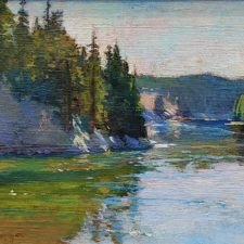 "American Legacy Fine Arts presents ""Bend in the River, Yellowstone"" a painting by Richard Humphrey."