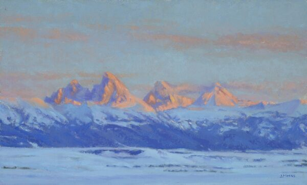 "American Legacy Fine Arts presents ""Teton Valley Winter"" a painting by Jennifer Moses."