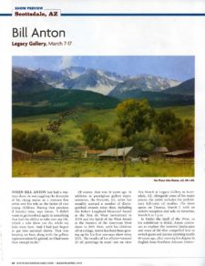 American Legacy Fine Arts presents Bill Anton in Southwest art Magazine, March/ April 2019.