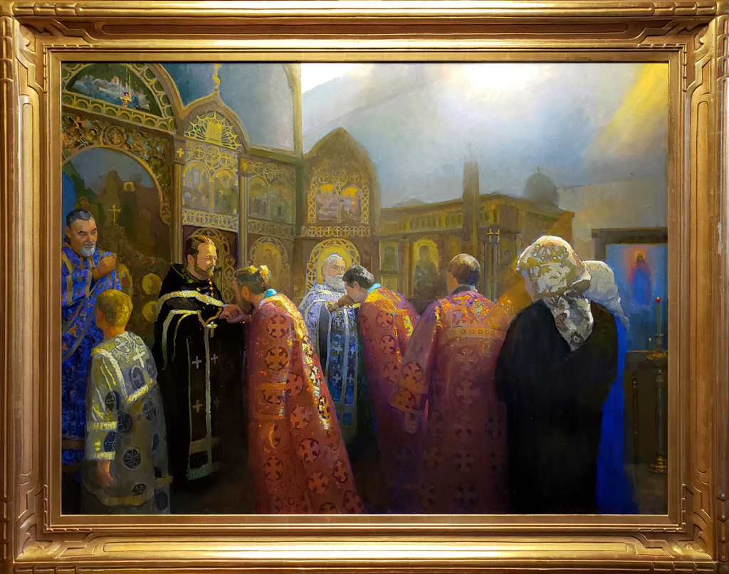 "American Legacy Fine Arts presents ""Forgiveness Sunday, Protection of the Holy Virgin Russian Orthodox Church; Hollywood, California"" a painting by Peter Adams."