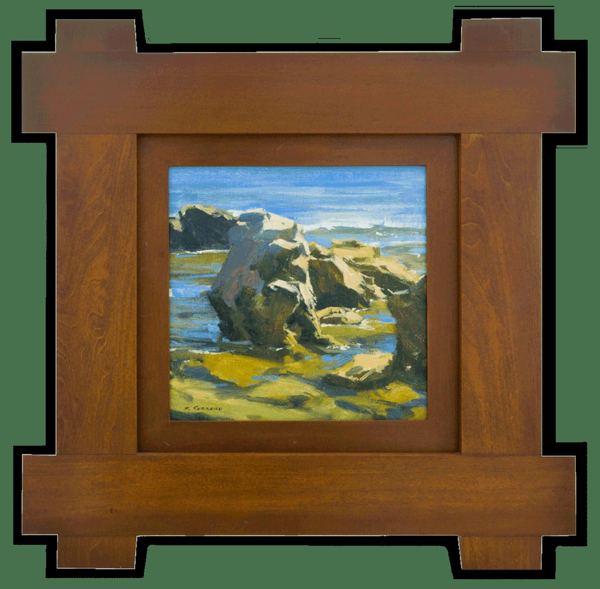 "American Legacy Fine Arts presents ""Coastal Rocks, Laguna Beach"" a painting by Frank M. Serrano."