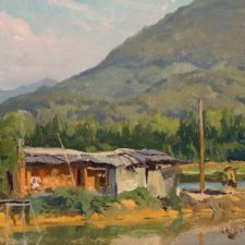 "American Legacy Fine Arts presents ""Eel Seller"" a painting by Joseph Paquet."