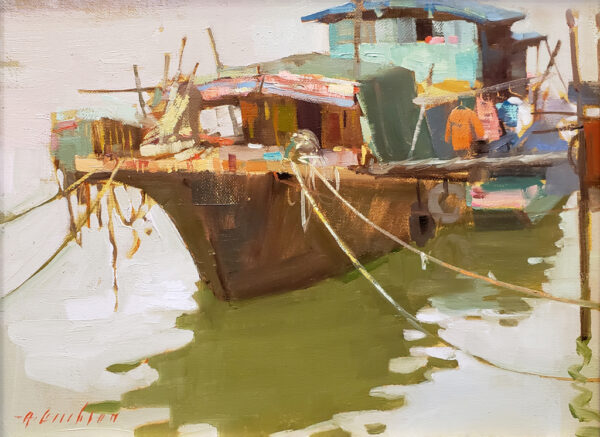 "American Legacy Fine Arts presents ""An Old Boat in Kaiping"" a painting by Aimee Erickson."