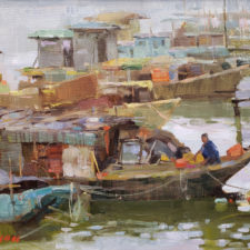 "American Legacy Fine Arts presents ""Boats of Kaiping"" a painting by Aimee Erickson.American Legacy Fine Arts presents ""Boats of Kaiping"" a painting by Aimee Erickson."