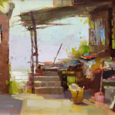 "American Legacy Fine Arts presents ""China Porch & Pink Broom"" a painting by Aimee Erickson."