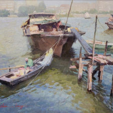 "American Legacy Fine Arts presents ""Houseboats"" a painting by Calvin Liang."