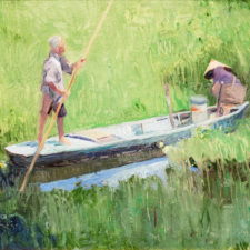 "American Legacy Fine Arts presents ""Lotus Gatherers"" a painting by Chuck Kovacic."