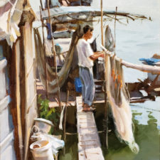 "American Legacy Fine Arts presents ""Sun Dry Nets"" a painting by Eric F. Guan."