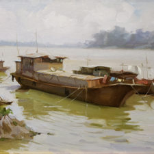 "American Legacy Fine Arts presents ""Tan River Morning"" a painting by Eric F. Guan."