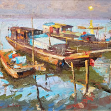 "American Legacy Fine Arts presents ""Moonlight; Sunchong, Guandong"" a painting by Hai-Ou Hou."