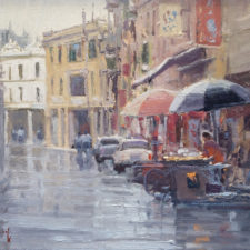 "American Legacy Fine Arts presents ""A Sudden Shower; Kaiping, China"" a painting by John Budicin."