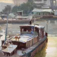 "American Legacy Fine Arts presents ""Liveaboards"" a painting by John Cosby."