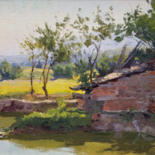 "American Legacy Fine Arts presents ""Village Fish Pond"" a painting by Joseph Paquet."
