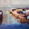 "American Legacy Fine Arts presents ""Hometown Boat View"" a painting by Michael Situ."