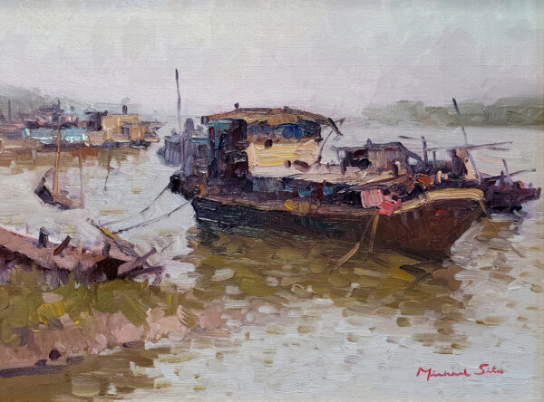 "American Legacy Fine Arts presents ""Kaiping Boat"" a painting by Michael Situ."