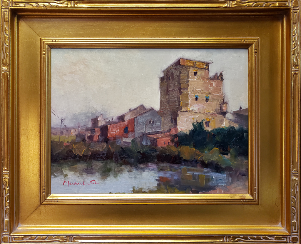 """American Legacy Fine Arts presents """"Kaiping Diaolou"""" a painting by Michael Situ."""