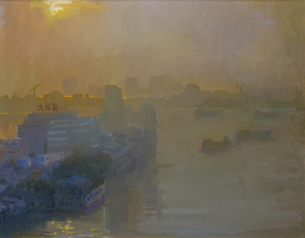 "American Legacy Fine Arts presents ""Commerce along the Pearl River"" a painting by Peter Adams."