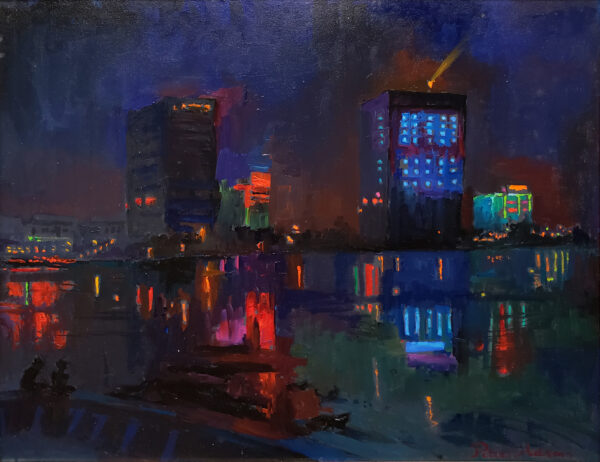 "American Legacy Fine Arts presents ""Kaiping Lights"" a painting by Peter Adams."