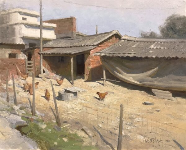 "American Legacy Fine Arts presents ""Chicken Run"" a painting by Albin Veselka."