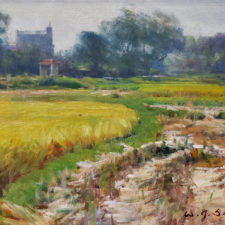 "American Legacy Fine Arts presents ""Autumn Rice Fields; Kaiping, China"" a painting by W. Jason Situ."