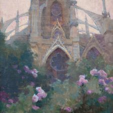 "American Legacy Fine Arts presents ""Rose Garden at Notre Dame Cathedral"" a painting by Alexey Steele."