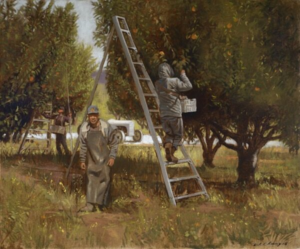"American Legacy Fine Arts presents ""Orchard in July"" a painting by Warren Chang."