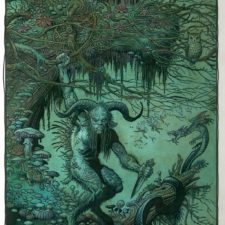 "American Legacy Fine Arts presents ""The Faun (Pan)"" a painting by William Stout."