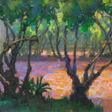 "American Legacy Fine Arts presents ""Summer Afternoon in the Pomegranate Court; The Old Mill"" a painting by Peter Adams."