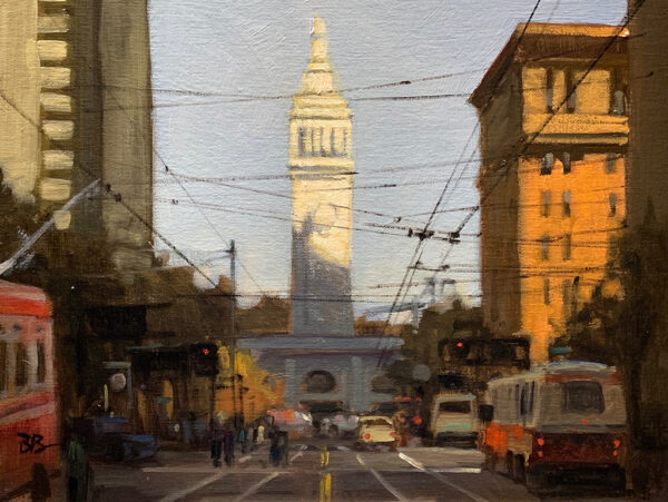 "American Legacy Fine Arts presents ""Market & Spear; San Francisco"" a painting by Brian Blood."