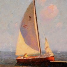 "American Legacy Fine Arts presents ""Sailboat"" a painting by Calvin Liang."
