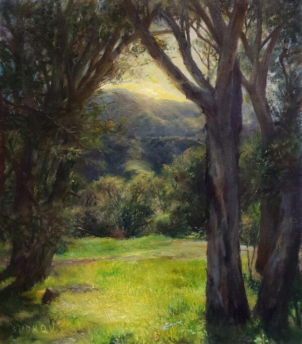 "American Legacy Fine Arts presents ""Old Mornings' Dawn; Paramount Ranch"" a painting by Nikita Budkov."