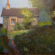 "American Legacy Fine Arts presents ""Sir Walter Scott's Caretaker's Cottage in Abbotsford, Scotland"" a painting by Chuck Kovacic."