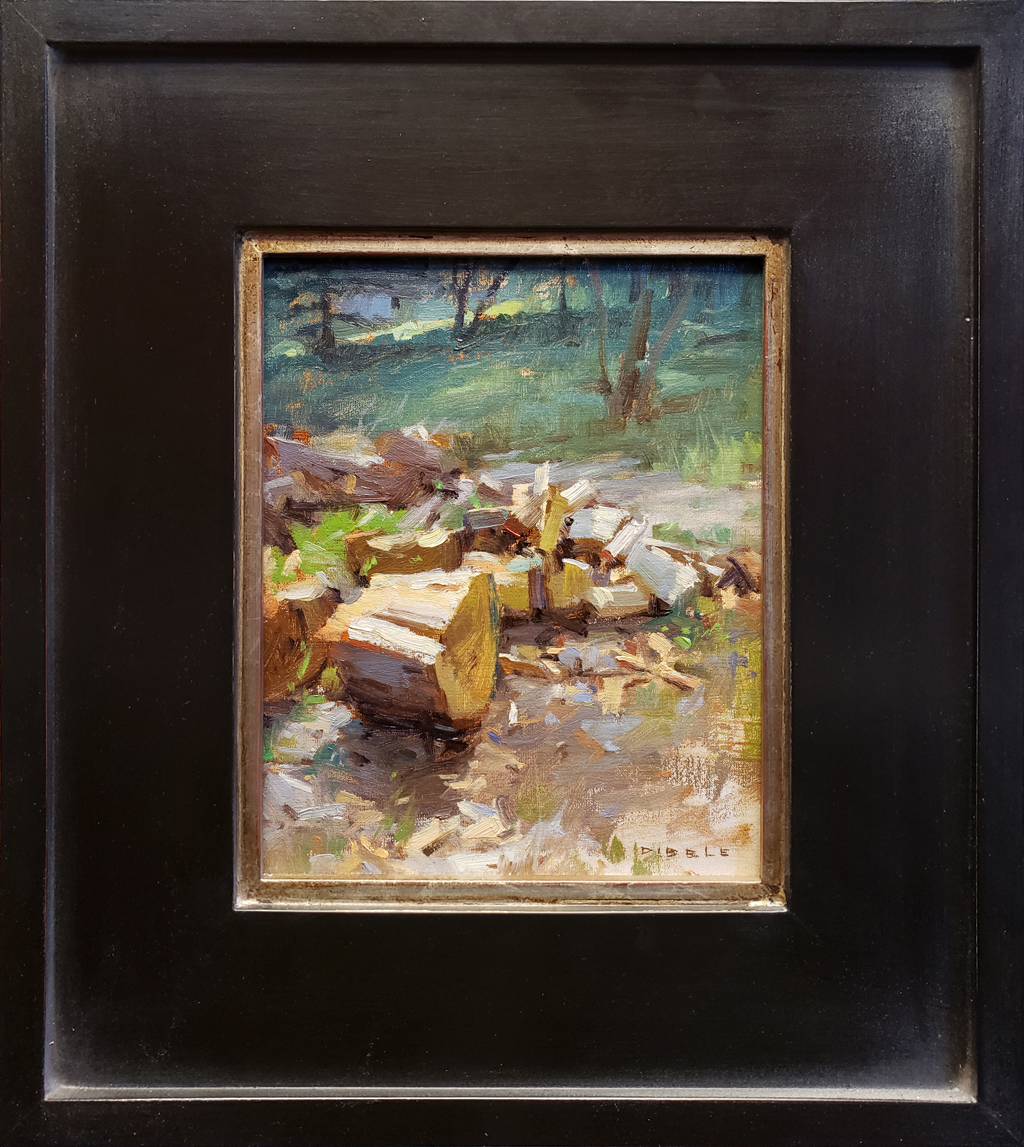 "American Legacy Fine Arts presents ""Springdell Wood Pile"" a painting by David Dibble."