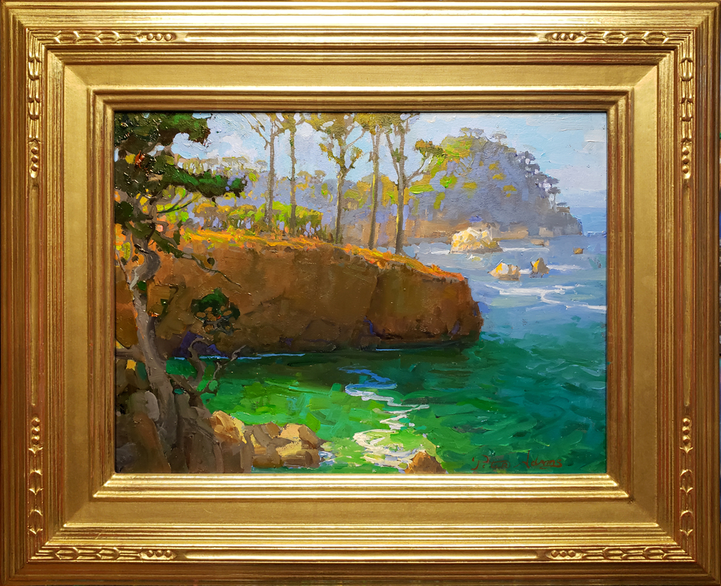 "American Legacy Fine Arts presents ""Afternoon at Whalers Cove, Point Lobos"" a painting by Peter Adams."
