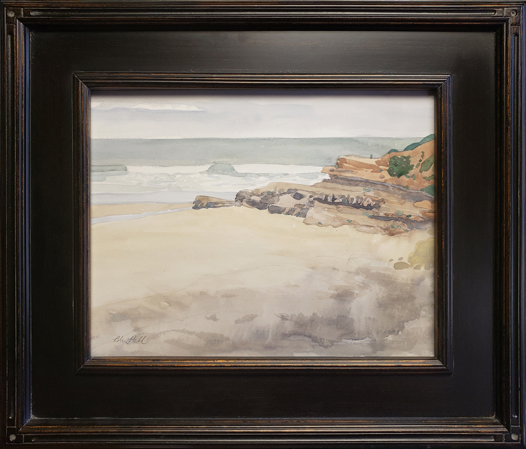 "American Legacy Fine Arts presents ""Becalmed Dog Beach"" a painting by Robin Rurcell."