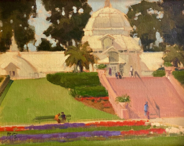 "American Legacy Fine Arts presents ""Morning at the Conservatory of Flowers"" a painting by Brian Blood."