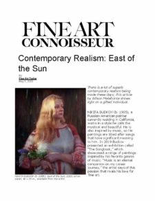 American Legacy Fine Arts presents Nikita Budkov in FIne Art Connuisseur On-line magazine may, 5, 2020.