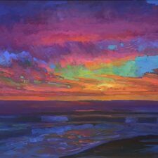 "American Legacy Fine Arts presents ""Evening Glow at St. Malo Beach, California"" a painting by Peter Adams"