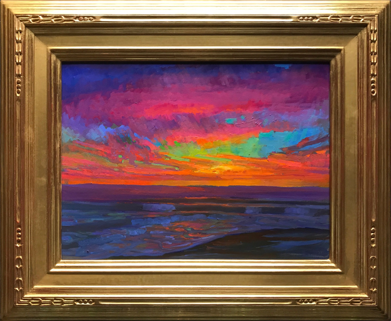 """American Legacy Fine Arts presents """"Evening Glow at St. Malo Beach, California"""" a painting by Peter Adams"""
