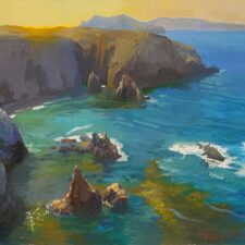 "American Legacy Fine Arts presents ""Afternoon Glow, Cathedral Cove, Anacapa Island"" a painting by Peter Adams."