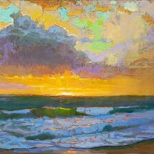 "American Legacy Fine Arts presents ""Breaking Skies over St. Malo Beach at Sunset"" a painting by Peter Adams."