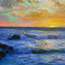 "American Legacy Fine Arts presents ""Churning Surf at Sunset, Golden Cove; Rancho Palos Verdes"" a painting by Peter Adams."