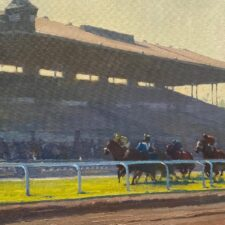 "American Legacy Fine Arts presents ""Heading for the Finish; Santa Anita"" a painting by Michael Obermeyer."