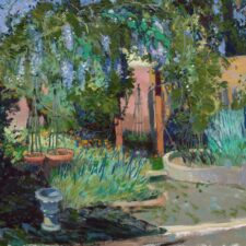 """American Legacy Fine Arts presents """"Wisteria Wandering"""" a painting by Chuck Kovacic."""