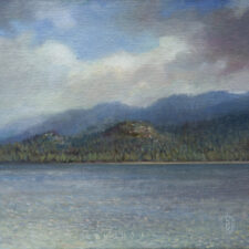 "American Legacy Fine Arts presents ""By the Healing Waters; Lake Tahoe"" a painting by Nikita Budkov."
